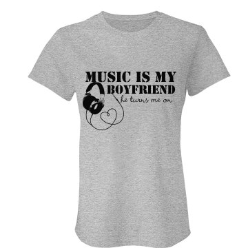 Music Is My Boyfriend Junior Fit Bella Crewneck Jersey Tee