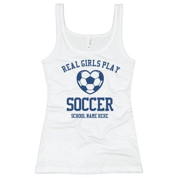 Real Girls Play Soccer Junior Fit Bella Sheer Longer Length Rib Tank Top