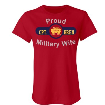 Proud Marine Wife Junior Fit Bella Sheer Longer Length Rib Tee