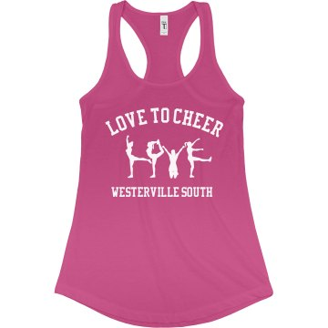 Love To Cheer Junior Fit Bella Sheer Longer Length Rib Racerback Tank Top
