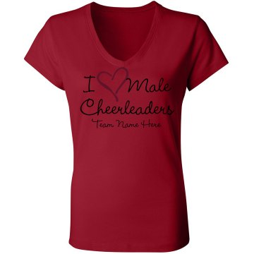 I Love Male Cheerleaders Junior Fit Bella Sheer Longer Length Rib V-Neck Tee 
