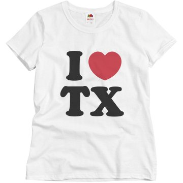 I Heart Texas Misses Relaxed Fit Basic Gildan Ultra Cotton Tee