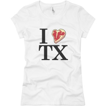 I Heart TX Distressed Misses Relaxed Fit Basic Gildan Ultra Cotton Tee