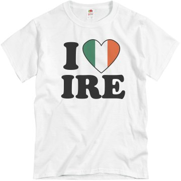 I Heart IRE Mens Unisex Basic Gildan Heavy Cotton Crew Neck Tee