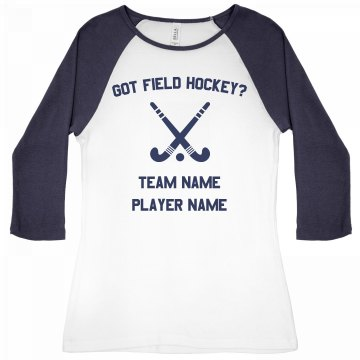 Field Hockey Tee Junior Fit Bella 1x1 Rib 3/4 Sleeve Raglan Tee