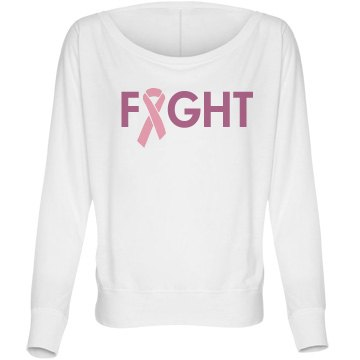 Fight Cancer Bella Flowy Lightweight Long Sleeve Dolman Tee