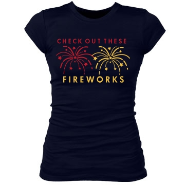 Fireworks Tee Junior Fit Bella Sheer Longer Length Rib Tee