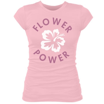 Flower Power Emblem Junior Fit Bella Sheer Longer Length Rib Tee