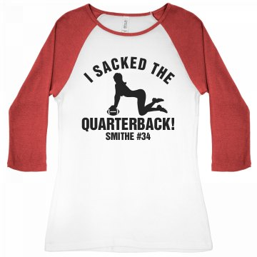 Football Girlfriend Sack Junior Fit Bella 1x1 Rib 3/4 Sleeve Raglan Tee