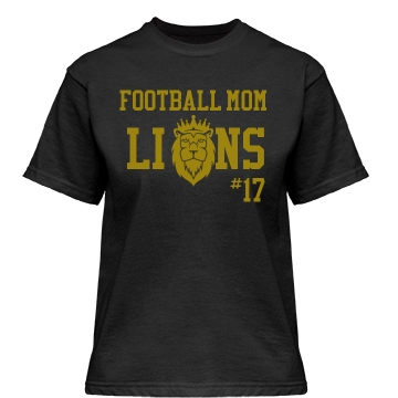 Football Mom Lions Misses Relaxed Fit Gildan Heavy Cotton Tee