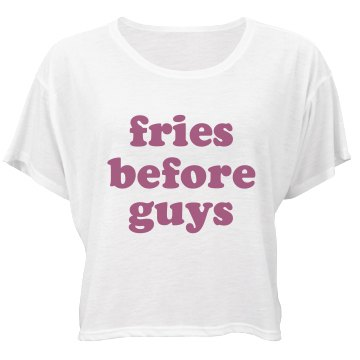 Fries Before Guys Bella Flowy Boxy Lightweight Crop Top Tee