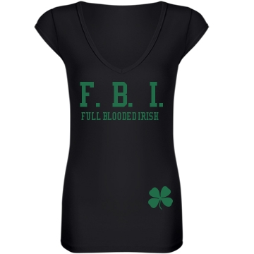 Full Blooded Irish Junior Fit Bella Sheer Longer Length Rib V-Neck Tee
