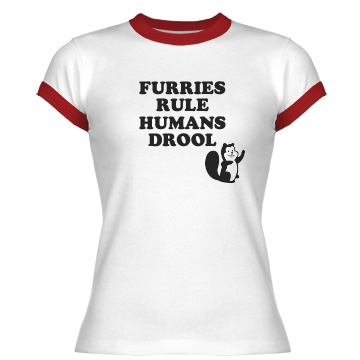 Furries Rule Junior Fit Bella 1x1 Rib Ringer Tee