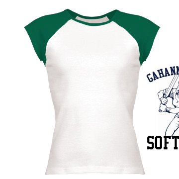 Gahanna Softball Distress Junior Fit Bella 1x1 Rib Cap Sleeve Raglan Tee