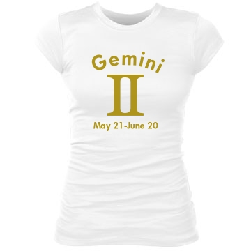 Gemini In Gold Junior Fit Bella Sheer Longer Length Rib Tee
