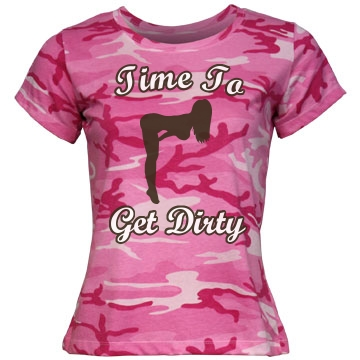 Get Dirty Mud Run Camo Misses Relaxed Fit Code V Jersey Pink Camo Tee