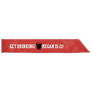 Get Drinking 21st Sash
