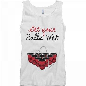 Get Your Pong Balls Wet Junior Fit Basic Bella 2x1 Rib Tank Top