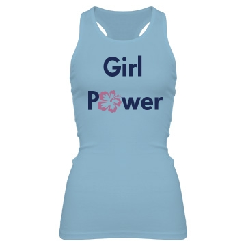 Girl Power Flower Junior Fit Bella Sheer Longer Length Rib Racerback Tank Top