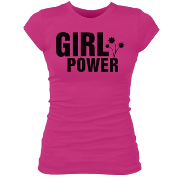 Girl Power Flower Junior Fit Bella Sheer Longer Length Rib Tee