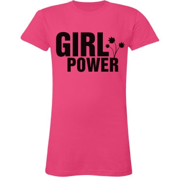 Girl Power Flower Junior Fit LA T Fine Jersey Tee