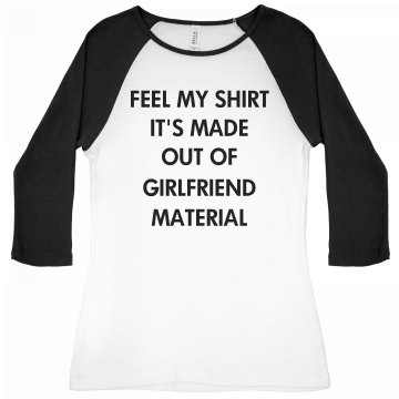 Girlfriend Material Black Junior Fit Bella 1x1 Rib 3/4 Sleeve Raglan Tee