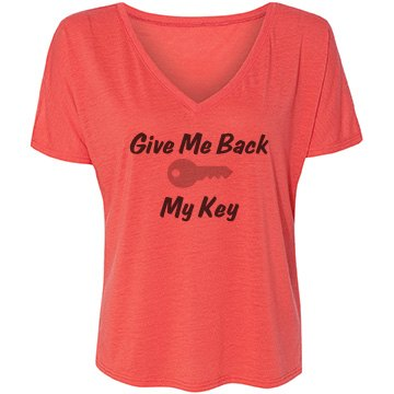 Give Me My Key Bella Flowy Lightweight V-Neck Drop-Sleeve Tee