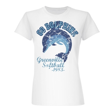 Go Dolphins Softball 1983 Junior Fit Basic Bella Favorite Tee