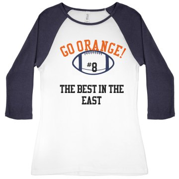 Go Orange Junior Fit Bella 1x1 Rib 3/4 Sleeve Raglan Tee