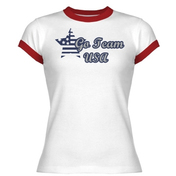Go Team USA Junior Fit Bella 1x1 Rib Ringer Tee