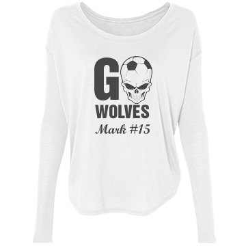 Go Wolves Soccer Bella Flowy Lightweight Long Sleeve Tee with Rib Sleeves