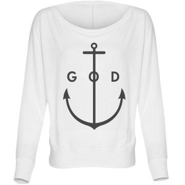 God Anchors My Soul Bella Flowy Lightweight Long Sleeve Dolman Tee