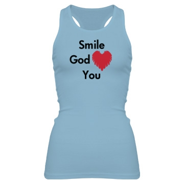 God Loves You Junior Fit Bella Sheer Longer Length Rib Racerback Tank Top