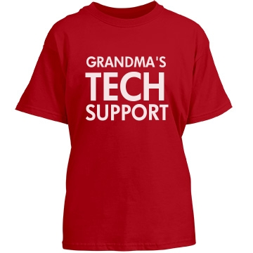 Grandma's Tech Support Youth Gildan Heavy Cotton Crew Neck Tee