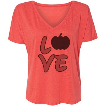 Halloween Love Bella Flowy Lightweight V-Neck Drop-Sleeve Tee