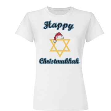 Happy Christmukkah Junior Fit Basic Tultex Fine Jersey Tee