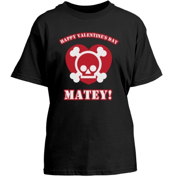 Happy V-Day Matey! Youth Gildan Heavy Cotton Crew Neck Tee