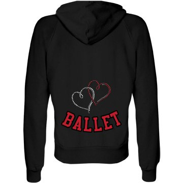 Heart Ballet Rhinestone Junior Fit Bella Fleece Raglan Full Zip Hoodie
