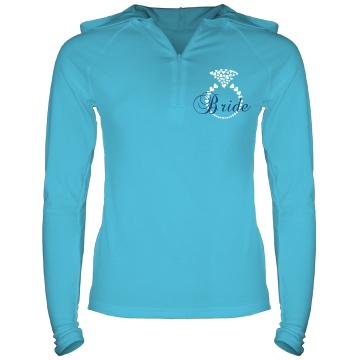 Heart Ring Bride Hoodie Junior Fit Bella Long Sleeve 1/2 Zip Hooded Pullover Tee