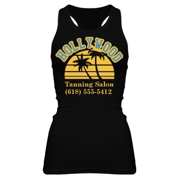 Hollywood Tanning Salon  Junior Fit Bella Sheer Longer Length Rib Racerback Tank Top