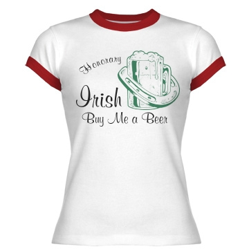 Honorary Irish Junior Fit Bella 1x1 Rib Ringer Tee