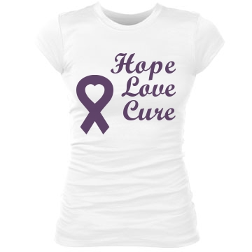 Hope Love Cure Junior Fit Bella Sheer Longer Length Rib Tee
