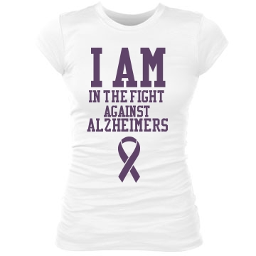 I Fight Alzheimers Junior Fit Bella Sheer Longer Length Rib Tee