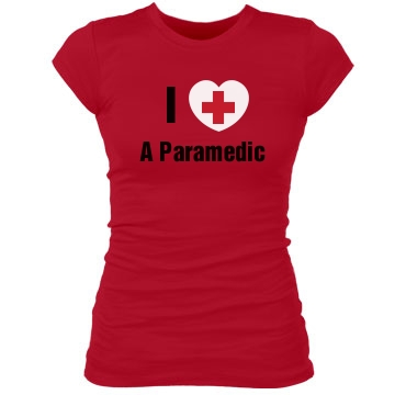 I Heart A Paramedic Junior Fit Bella Sheer Longer Length Rib Tee