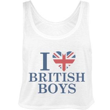 I Heart British Boys Bella Flowy Boxy Lightweight Crop Top Tank Top