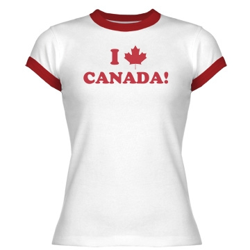 I Heart Canada Junior Fit Bella 1x1 Rib Ringer Tee