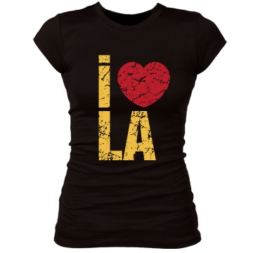 I Heart LA Yellow & Red Junior Fit Bella Sheer Longer Length Rib Tee