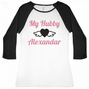I Heart My Hubby Junior Fit Bella 1x1 Rib 3/4 Sleeve Raglan Tee