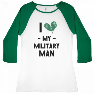I Heart My Military Man Junior Fit Bella 1x1 Rib 3/4 Sleeve Raglan Tee