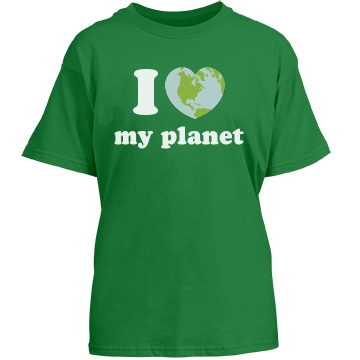 I Heart My Planet Youth Gildan Heavy Cotton Crew Neck Tee